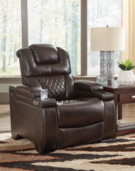 Warnerton Chocolate PWR Recliner/ADJ Headrest