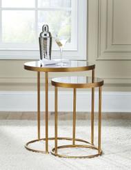Majaci Gold Finish/White Accent Table (Set of 2)
