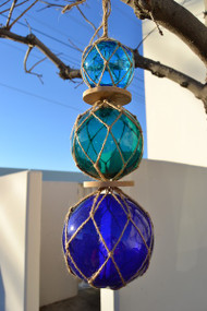 """Reproduction Trio Glass Float Ball Buoy 3"""" 4"""" 5"""""""