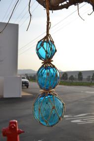 "Reproduction Trio Glass Float Fishing Ball Buoy 5"" 6"" 8"""