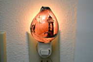 Hand Carved Purple Lighthouse Cowrie Shell Nightlight