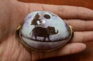Carved Purple Elephant Tiger Cypraea Cowrie Shell
