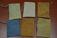 6 Pcs Handmade Drawstring Leather Gift Pouches 3x4