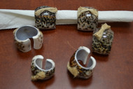 Carved Tiger Cowrie Shell Napkin Rings
