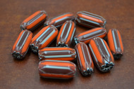 12 Pcs Orange & White  Cheveron Glass Beads