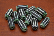 12 Pcs Black, White, & Green  Cheveron Glass Beads