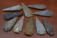 "Hand Carved Agate Stone Spearpoint Arrowheads 3"" - 3 1/2"""