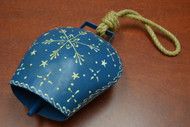 "Handmade Blue Star Rusty Iron Metal Bell With Rope Handler 8 1/2"""