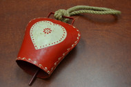 """Handmade Red Heart Rusty Iron Metal Bell With Rope Handler 6"""""""
