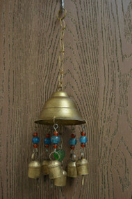 Handmade Rusty Iron Metal Bells With Glass Beads Windchime