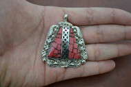 Handmade Red Coral Look Silver Plated Pendant