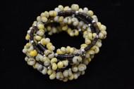 Green Mango Shell Bead Charm Memory Wire Bracelet