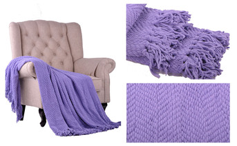 Paisley Purple Knitted Tweed Throw Blanket