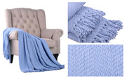 Forever Blue Knitted Tweed Throw Blanket