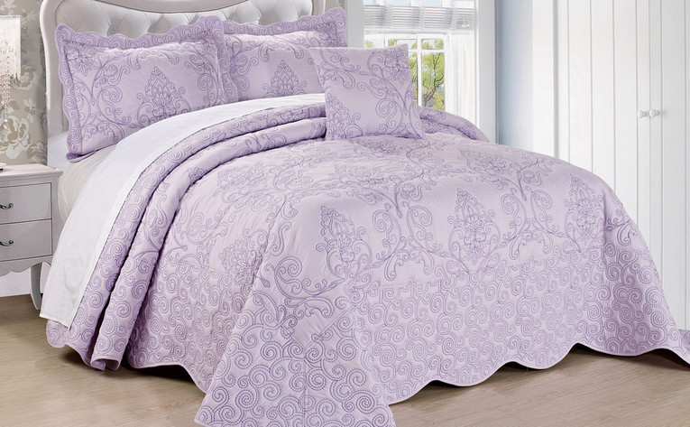 Damask Embroidered Quilt Blanket Bedding Bedspreads