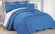 Palace Blue Damask Embroidered Bedspread Collection