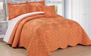 Nectarine Damask Embroidered Bedspread Collection