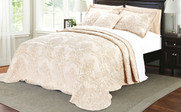Salmon Damask Embroidered Bedspread Collection