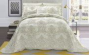 Light Green Damask Embroidered Bedspread Front