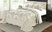 Taupe Damask Embroidered Bedspread Collection