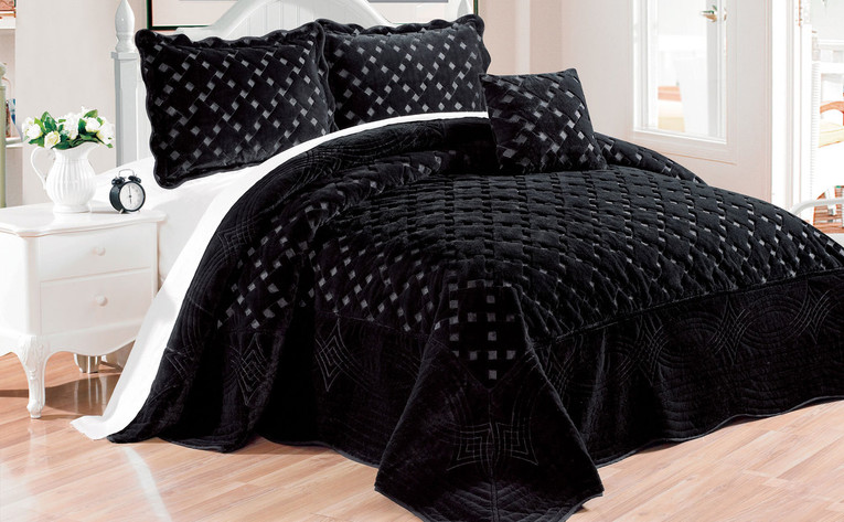Black Tatami Quilted Faux Fur 4 Piece Bed Spread Set