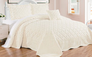 White Ivory Tatami Quilted Faux Fur Bedspread Front