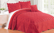 Tango Red Tatami Quilted Faux Fur Bed Spread Set
