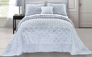 Grey Tatami Quilted Faux Fur Bedspread Front