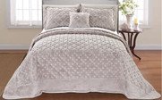 Taupe Tatami Quilted Faux Fur Bedspread Front
