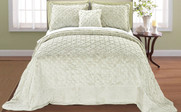 Light Green Tatami Quilted Faux Fur Bedspread Front