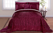 Burgundy Quilted Satin Bed Spread Front