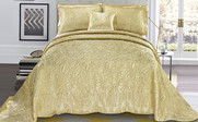 Gold Quilted Satin Bed Spread Front