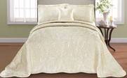 Champagne Quilted Satin Bed Spread Front