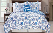 Blue Paisley Flower Reversible Quilted Bedspreads