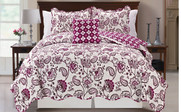 Purple Paisley Flower Reversible Quilted Bedspreads