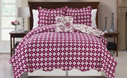 Purple Paisley Flower Reversible Quilted Bedspreads Reverse