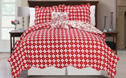 Red Paisley Flower Reversible Quilted Bedspreads Reverse