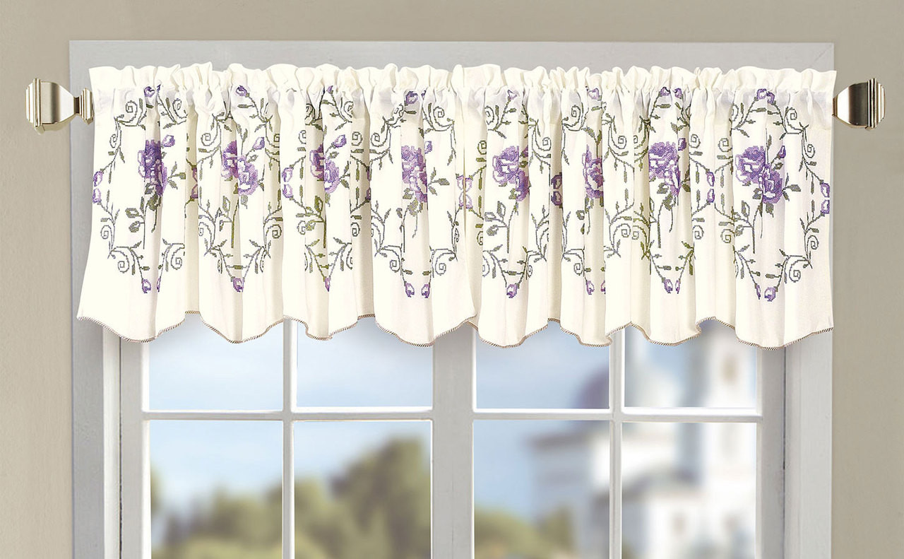Roses Embroidery Window Curtain Valance
