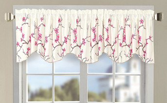 Pink Cherry Blossom Embroidery Window Curtain Valance