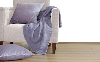 Lilac Grey Checker Cable Throw & Pillow Shell 3 Piece Combo Set