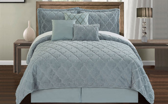 Blueish Gray Ogee Faux Fur Embroidered 7 Piece Bed Spread Set