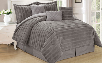 Silver Rabbit Faux Fur 7 Piece Comforter Set