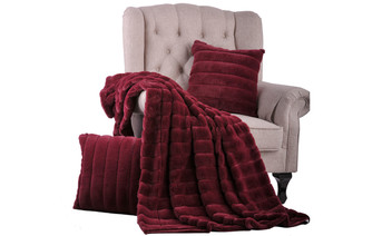 Burgundy Rabbit Jumbo Faux Fur Throw & Pillow Combo Set