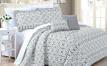 Gray Montgomery Quilted 5 Piece Bed Spread Set