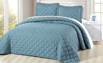Smoke Blue Charleston Down Alternative Bed Spread Set