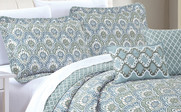 Gray Mini Tivoli Printed Quilted 5 Piece Bed Spread Pillow Set