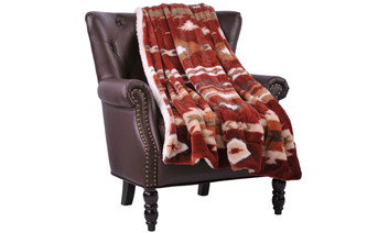 Brick Red Southwest Jumbo Faux Fur and Sherpa Throw Blanket