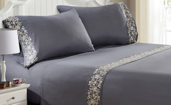 Gray Lei Embroidered Bed Sheet Set