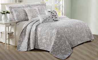 Gray Birdsong 6 Piece Bed Spread Set