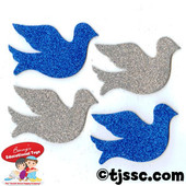 Doves Glittering Foam Shapes